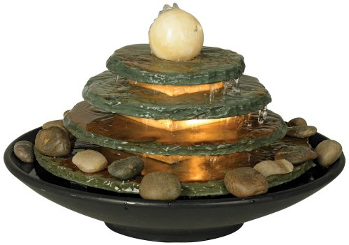 Pyramid Feng Shui Ball Lighted 10'' High Table Fountain by John Timberland