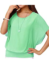 6f12b2f36ba Women s Loose Casual Short Sleeve Chiffon Top T-Shirt Blouse