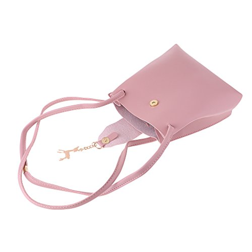 Bucket Bag cm x Gray Bag Handbag Shoulder 20 Women x Pendant Cute 5 Deer Pink Baoblaze Messenger 17 Crossbody wqHzgSq