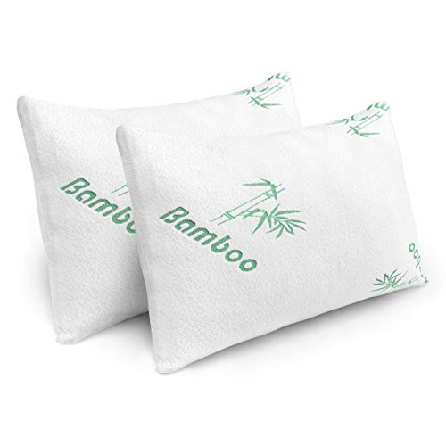 Plixio Pillows for Sleeping - 2 Pack Cooling Shredded Memory Foam Bed Pillows with Bamboo Hypoallergenic Covers (Queen Size) (Cool Bamboo)