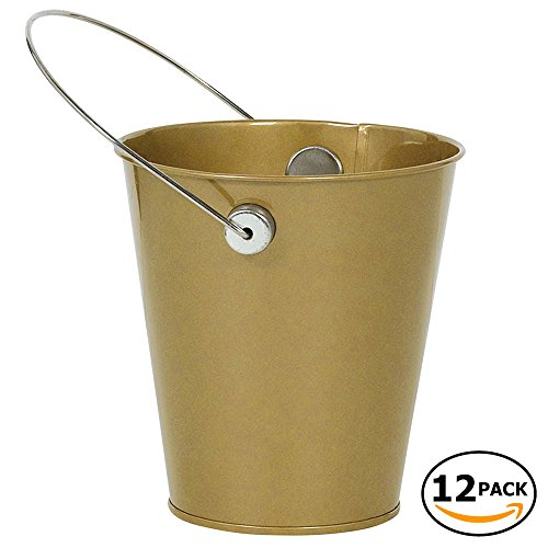 JAM Paper Colorful Metal Pails - Small - Gold - 12 Party Favor Buckets/Pack