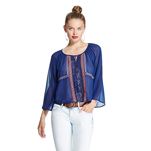 Flying Tomato Women's Tie Front Embroidered Blouse (Medium, Navy Multi) (Flying Tomato Blouse)