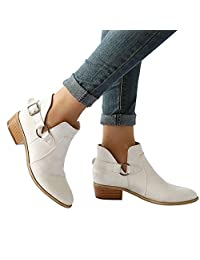 Womens Casual Martin Boots,Realdo Women Fashion Retro Buckle Ankle Booties