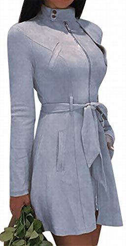 XiaoTianXinWomen XTX Women Zipper Mandarin Collar Casual Suede Fabric Solid Winter Jacket Trench Coats Blue S