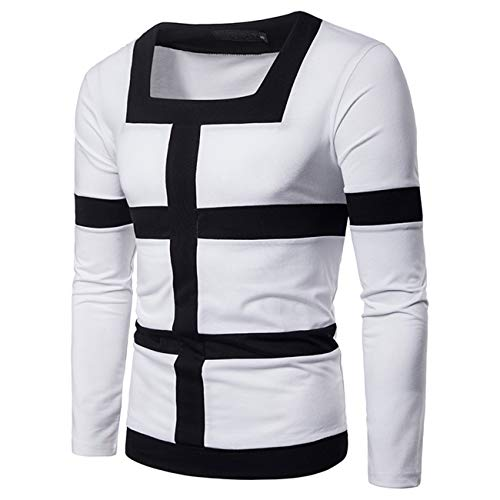 Men's Stitching Color Longsleeved Leisure and Fashion Shirt (M,White) ()