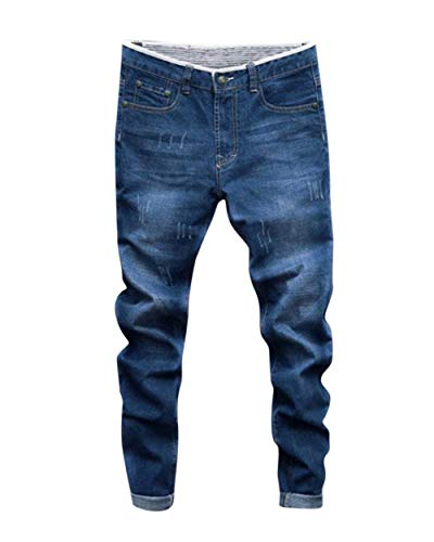 Da Hellblau Jeans Pantaloni Lavoro Old Holes Nne Uomo Cher Men's Simple Pants Basic Giovane Denim Aqw4nv6