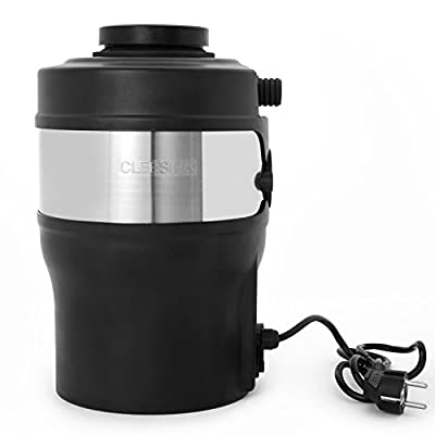 Cleesink 1 HP 55 Ounce Capacity Kitchen Garbage Disopsal Compact Design Without Blade, Sealed Grind Chamber Reject Water Leak, 1.0 Horsepower AC, Food Waste Disposer