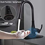 Faucet, SOOSI Touchless Wave Sensor Single Handle Kitchen Sink Faucet Single-Hole or Three-Hole 2-function Kitchen Faucets with Pull Down Sprayer Spot Free Stainless Steel Oil Rubber Bronze Lead Free