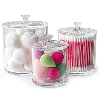"Superior Quality Plastic Apothecary Jars | Set of 3 by Luxe & Frill. Bathroom Organizer, Clear Canister/Container Good for Q-tips and Candy - ✅STAY ORGANIZED: If you're like most people, keeping your home organised makes life so much easier. By using our apothecary jars you will be able to keep your everyday household items organised in a stylish way. These jars not only boast an elegant design but are a pragmatic way for storing your household necessities. ✅PLACE ANYWHERE, STORE ANYTHING: When you have lots to store, you need something that can be used in multiple settings. That's why our versatile jars cater for almost every situation, from cookies and lollies to cotton pads and Q-Tips. With a set of 3 it's easy to use one in the Bathroom, one in the Kitchen and one in the Bedroom. Our High Quality jars will allow you to store a vast array of your favourite items. ✅3 SIZES FIT ALL: We know your storage needs vary, so this set comes in 3 different sizes that are perfect for storing everything from your household/kitchen items to your garage/office wares. Our jars offer the following 3 sizes: Large 3.9""x3.9"", Medium 3.14""x3.14"" and Small 2.75""x2.75"" (All measurements exclude the lid). - organizers, bathroom-accessories, bathroom - 41dy%2BZreuSL. SS400  -"