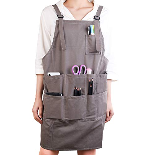 Artist Cotton Canvas Apron with Pockets for Women/Men/Unisex, Adult Painting Aprons Gardening Cooking Slight Waterproof Painting Apron for Painters School Students, Utility or Work Apron ()