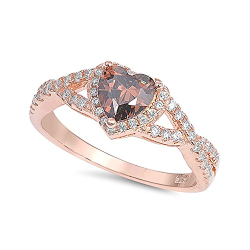Heart Promise Ring - Blue Apple Co. Halo Infinity shank Heart Promise Ring Simulated Chocolate Brown CZ 925 Sterling Silver, Size-10