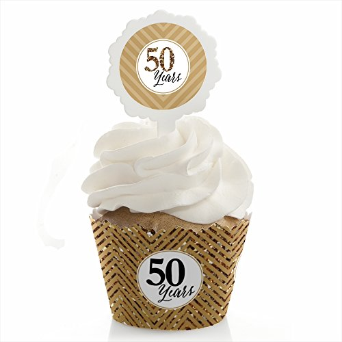 Big Dot of Happiness We Still Do - 50th Wedding Anniversary - Cupcake Wrapper and Pick - Cupcake Decorating Kit - Set of 24 by Big Dot of Happiness