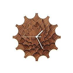 Cogwheel Walnut - 11½ Unique Stylish Handmade Wall Clock Made of Walnut Veneered Plywood, a Piece of Wall Art by ardeola