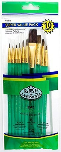 Quality Sets Of 10 Brushes SVP3 - Sable/Camel Round & Shaders by Royal & Langnickel