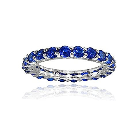 Sterling Silver Created Blue Sapphire 3mm Round-cut Eternity Band Ring, Size 10 - Blue Sapphire Eternity Ring