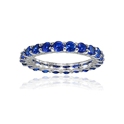 Ice Gems Sterling Silver Created Blue Sapphire 3mm Round-Cut Eternity Band Ring