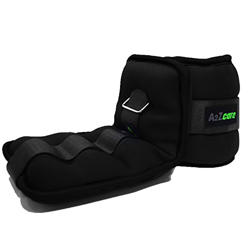 A2ZCARE Ankle Weight/Wrist Weight Set with Neoprene Padding for Soft, Comfortable Feel (Black (5 lbs Pair))