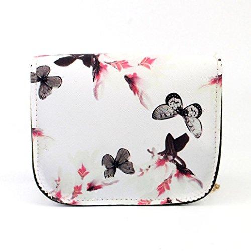 Bolso de Mensajero de las Mujeres, Bolso de Hombro del Bolso de la Impresión de la Flor De Mariposa por Morwind Blanco
