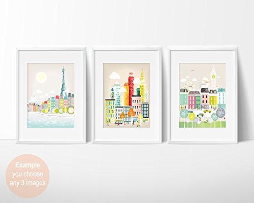 Stadtbild -Skyline Poster und A4 Wandkunstdruck , europäische amerikanische Städte, New York, London, Paris, Berlin, Rom und viele mehr