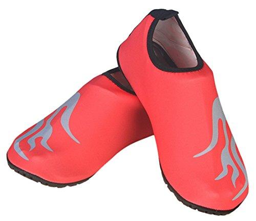 Panegy Mens Womens Atmungsaktives Mesh-Outdoor-Soft-Sohle Anti-Rutsch-Fuß Waten Slip-On Water Skin Schuhe Orange mit Feuer