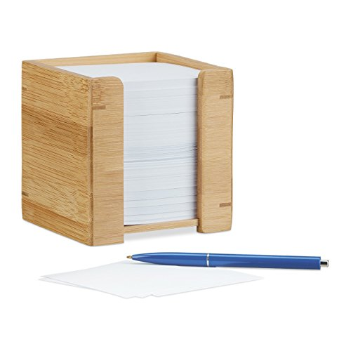 Relaxdays Bamboo Note Dispenser, Wooden Sticky Note Holder, Desk Organiser, H x W x D: 10.5 x 10.5 x 10.5 cm, Natural
