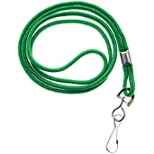 25 Pack - Premium Round ID Badge Neck Lanyards for Card Holders and Name Tags - 36 In Non-Breakaway Heavy Duty Cord & Secure Metal Swivel J Hook Clip by Specialist ID (Green)