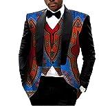 Abetteric Mens African Print Blazer 2pcs-Set Vest Vintage Retro Suit Jacket 18 S