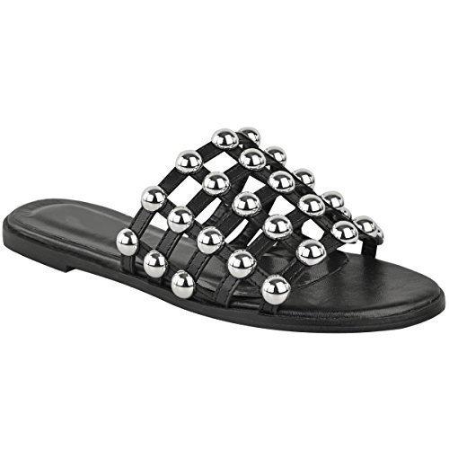 Fashion Thirsty Plano Mujer con tachuelas Deslizables Enjaulado Sandalias de Verano Puntera Abierta Zapatos Sin Cierres Piel Sintética Negro