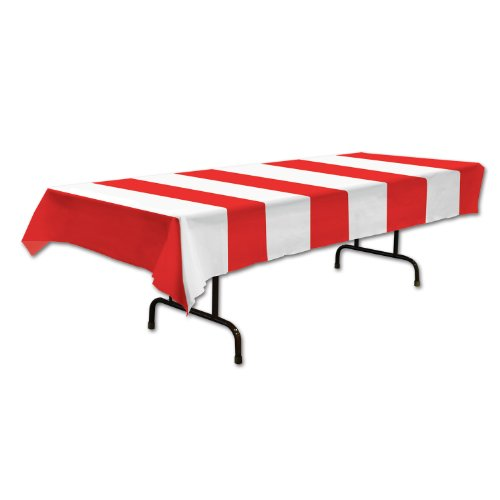 Red & White Stripes Tablecover Party Accessory (1 count) (1/Pkg) ()