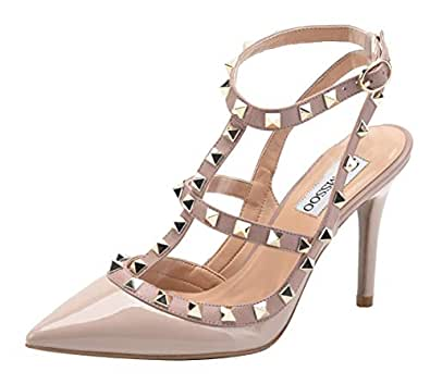 CAMSSOO Women's Classic Studded Strappy Pumps Rivets High Heels Stiletto Sandals T-Strap Shoes Beige Patent PU Size US11 EUR45