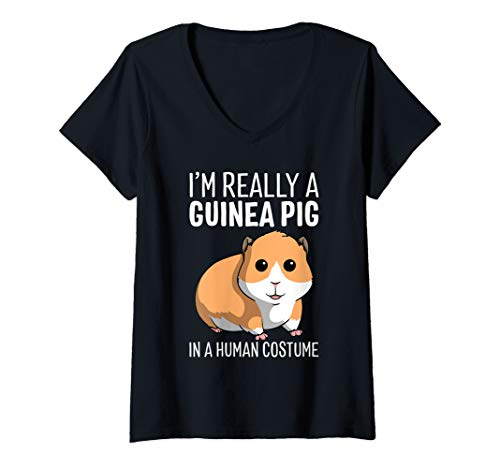 Womens I'm Really A Guinea Pig In A Human Costume Halloween Funny V-Neck T-Shirt
