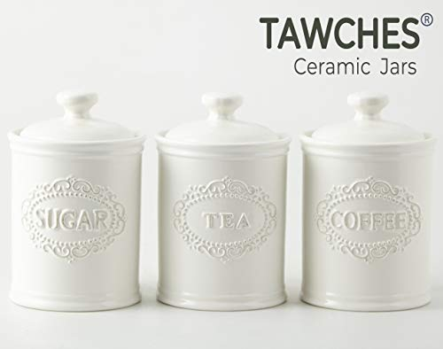 Canisters Sets for the Kitchen, Safer and Healthier Ceramic Kitchen Canisters set of 3 for Saving Coffee Tea Sugar Jars with Airtight Lids White Canister Food Storage jars TAWCHES TC001(A White 3pcs) (Canister Tea Set)