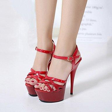 LvYuan Mujer-Tacón Cuña Tacón Stiletto-Innovador Gladiador Zapatos del club Confort-Sandalias-Boda Exterior Oficina y Trabajo Vestido Informal Black