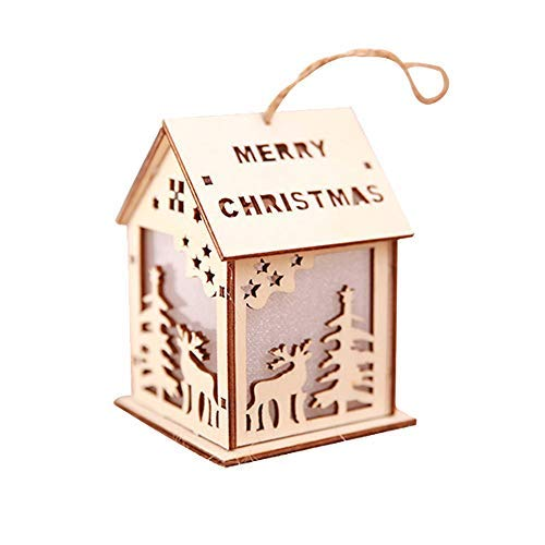 Iuhan Glowing Chalet Christmas Ornaments, Clearance Luminous Christmas Ornaments LED Light Wood Chalet Hotel Bar Xmas Tree Hanging Decoration for Outdoor and Indoor Decors (E)