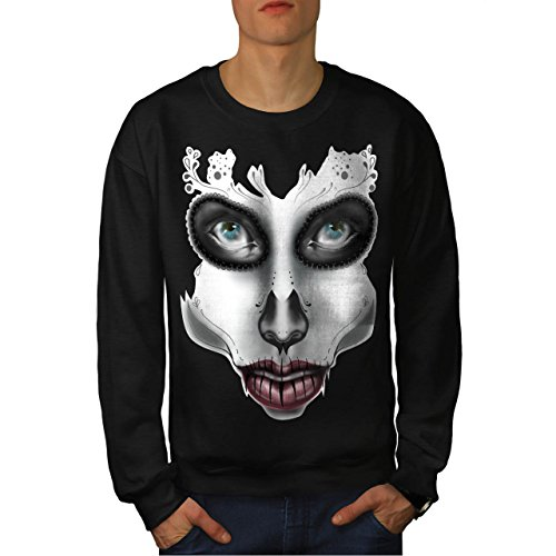 [Sugar Skull Make Up Beauty Face Men NEW S Sweatshirt | Wellcoda] (Sugar Skull Costume Tumblr)