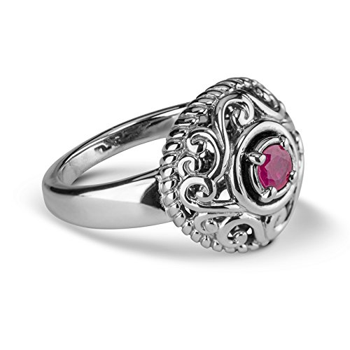 Carolyn Pollack Sterling Silver Pink Ruby Gemstone July Birthstone Ring Size 8 ()