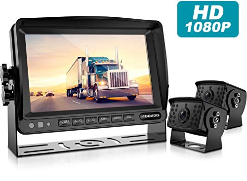 HD Backup Camera System Kit,7''1080P Reversing Monitor+IP69 Waterproof Rear View Camera,Sharp CCD Chip, 100% Not Wash Up,Truck/Semi-Trailer/Box Truck/RV (FHD2-Wired)
