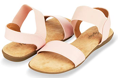 Floopi Sandals for Women | Cute, Open Toe, Wide Elastic Design, Summer Sandals| Comfy, Faux Leather Ankle Straps W/Flat Sole, Memory Foam Insole| (8, Pink-514)