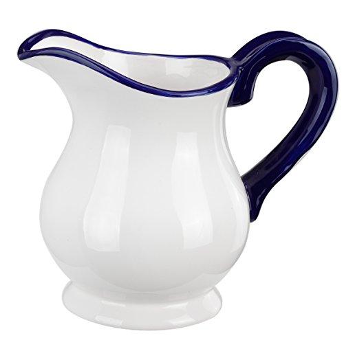 Pitcher Bud Vase - Napco Ceramic White Pitcher with Blue Handle