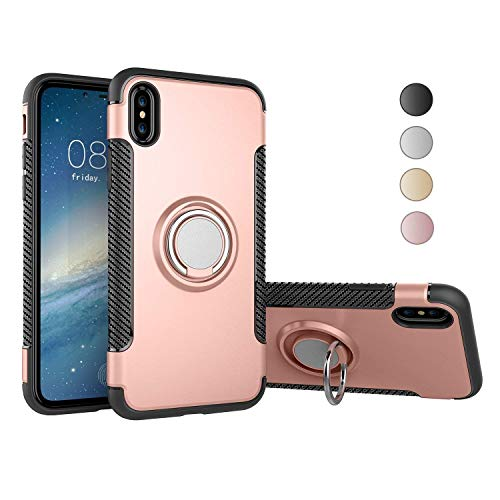 Nicwea Double Defense Shock Resistant Scratch Resistant Soft Case with 360 Degree Swivel Ring for Apple iPhone 7 iPhone 8 - Rose Gold