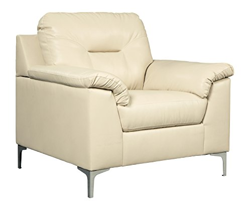 Ashley Furniture Signature Design - Tensas Contemporary Faux Leather Armchair - Ice