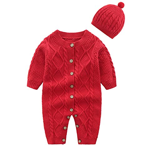 JooNeng Baby Newborn Cotton Knitted Sweater Romper Longsleeve Outfit with Warm Hat Set,Red
