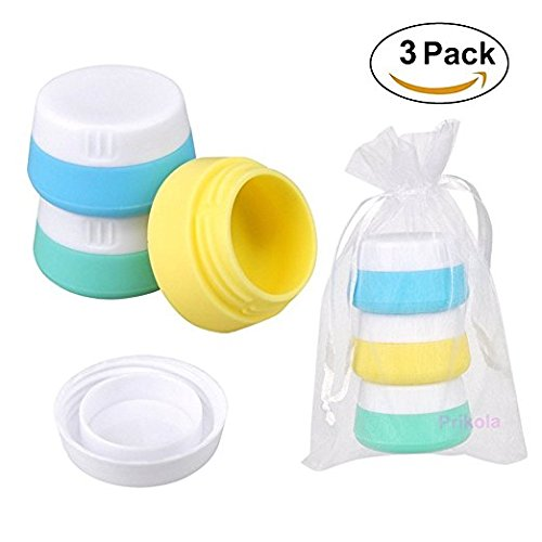 Silicone Travel Cream Jars Cosmetic Containers with Sealed Lids Pack of 4, 20ml and 10ml Assorted for Face Hand Body Cream
