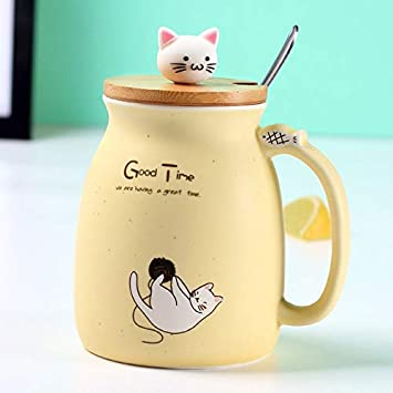 Cvxgdsfg Creativo Color Gato Resistente al Calor Taza de Dibujos Animados con Tapa 450 ml Taza Gatito caf/é Tazas de cer/ámica ni/ños Taza Oficina Drinkware Regalo
