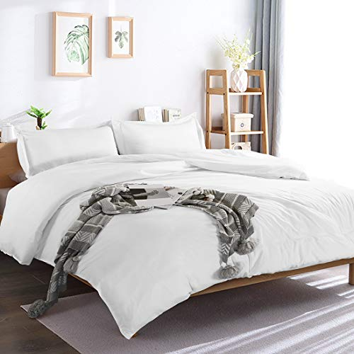 Edilly 3 Piece Duvet Cover Set Queen Size,100% Premium Washed Cotton Duvet Cover White,Ultra Soft and Easy Care,Simple Style Bedding Set