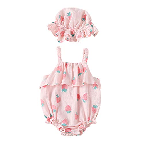 BCDshop Newborn Infant Baby Girls Romper Strawberry Print Jumpsuit Bodysuit Sun Hat Outfit (66, Pink)]()
