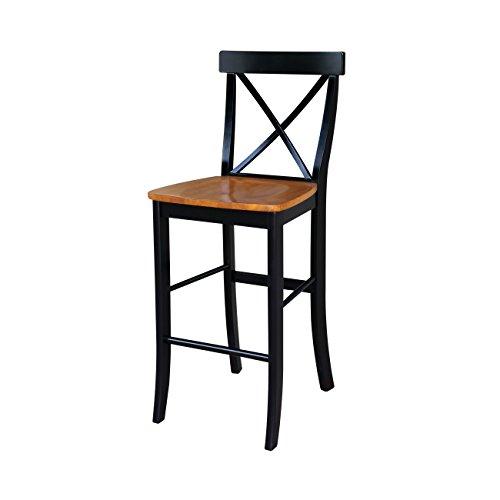 International Concepts S57-6133 X Back Stool Barstool, 30 inch, Black/Cherry