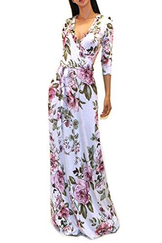 Vivicastle Women#039s Printed VNeck 3/4 Sleeve Faux Wrap Waist Tie Long Maxi Dress Small HH23 Ivy/pnk