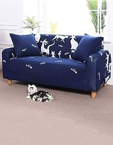 Single Seater Cat Design Sofa Cover Blue/White 90x45 centimeter