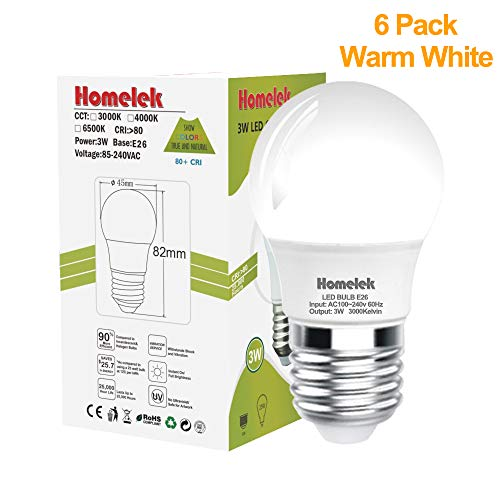 (6 Pack) Homelek 3W LED Light Bulbs, Equivalent to 25W, E26 Base, G45/G14 Bulb, 300 Lumens, Warm White 3000 Kelvin, Best for Bedrooms and Living Rooms ()